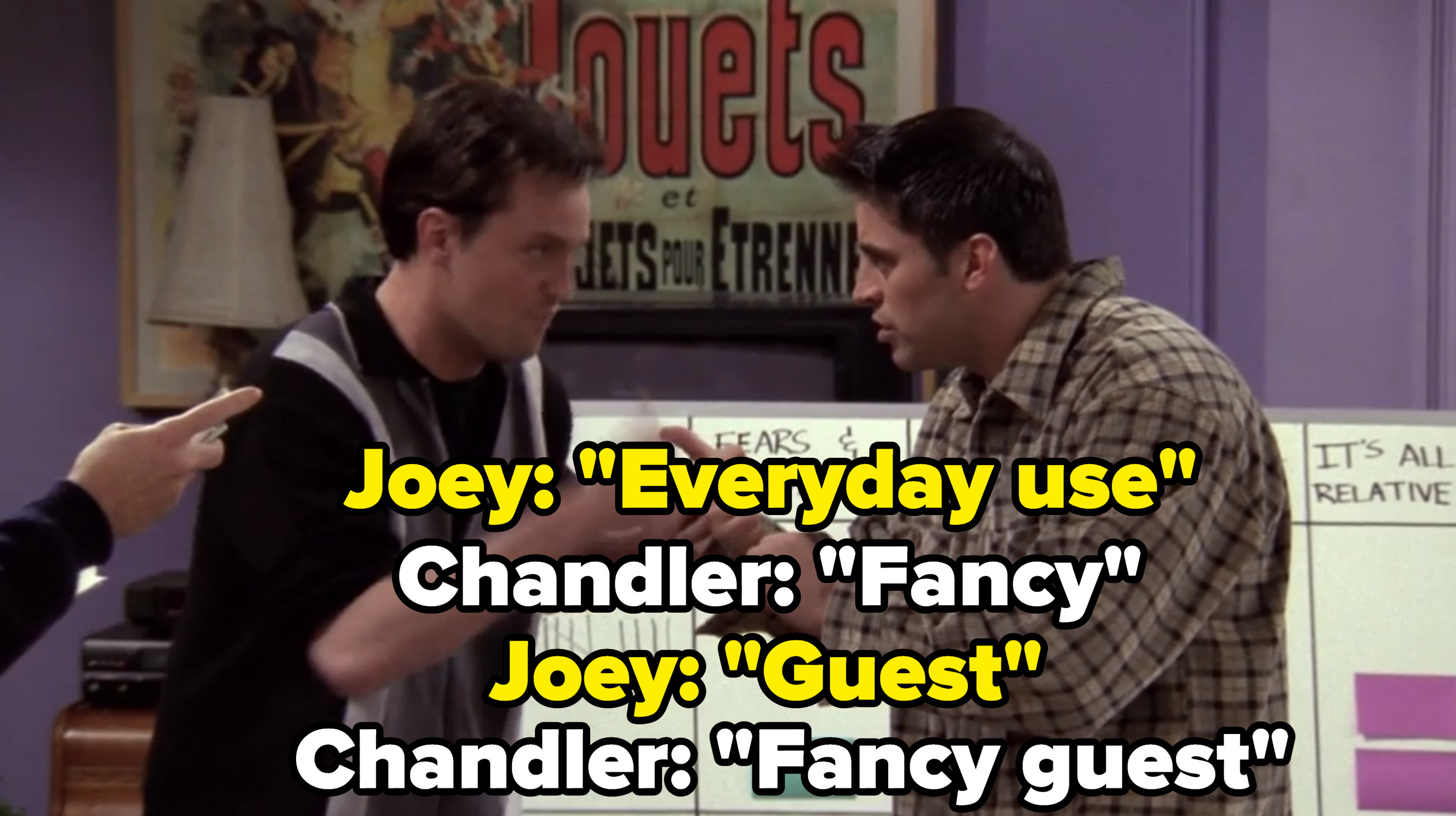 """Joey and Chandler list Monica's towel categories: """"Everyday use, fancy, guest, fancy guest."""""""