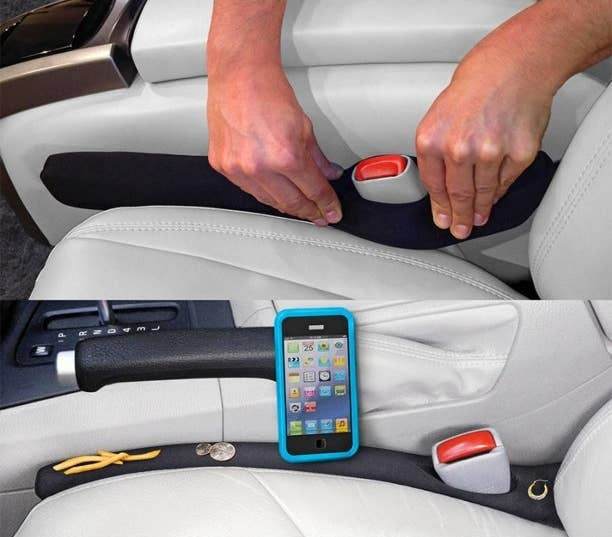 person installing a car seat gap filler on top and the gap filler catching a phone, earring, french fry, and coins on the bottom