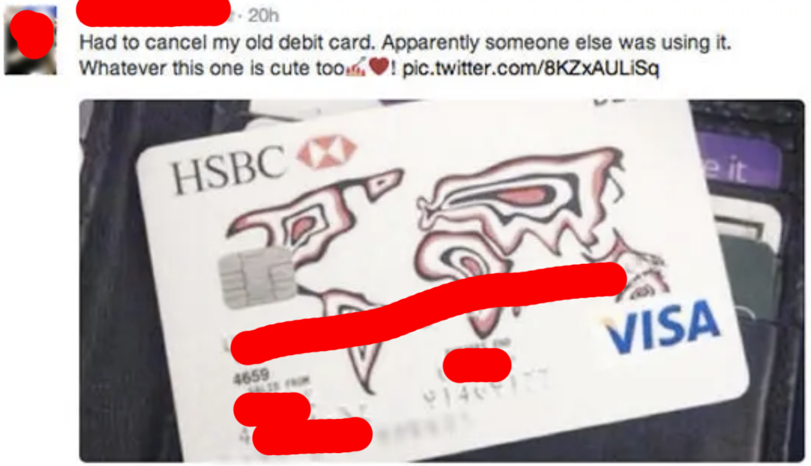 tweet of someone posting their new credit card design