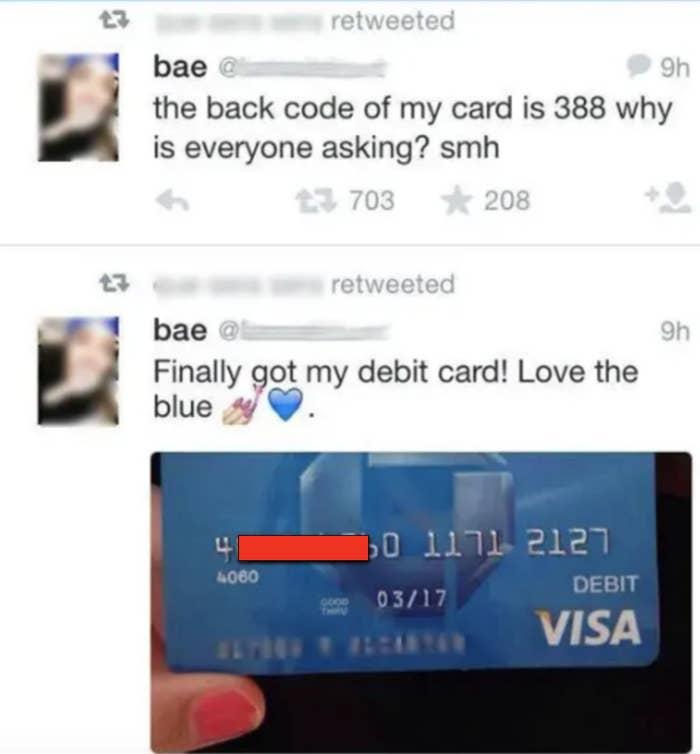 tweet of someone sharing their credit card