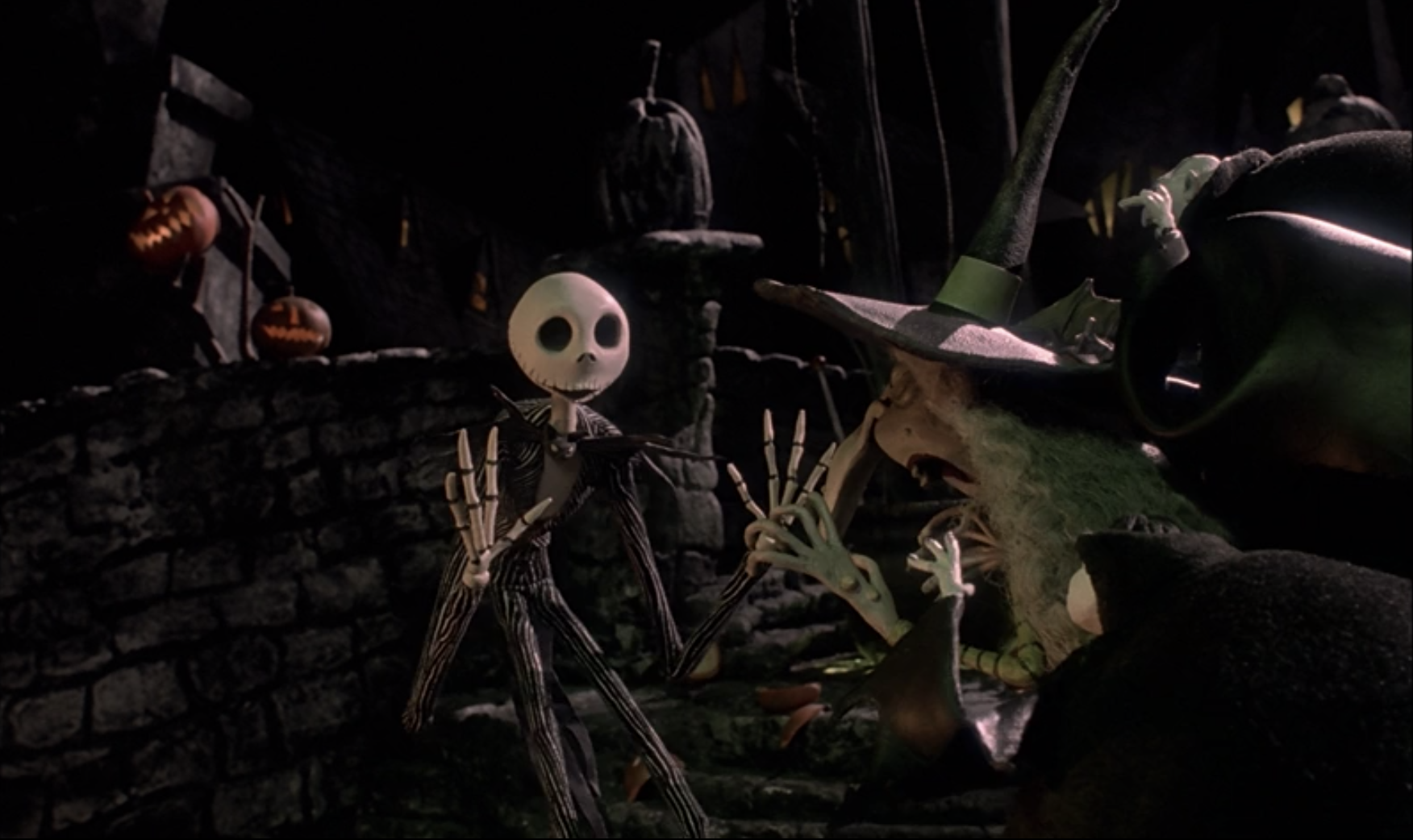 Jack Skellington among the people of Halloween Town.
