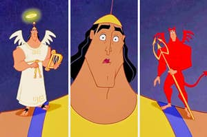 Kronk and an angel and devil