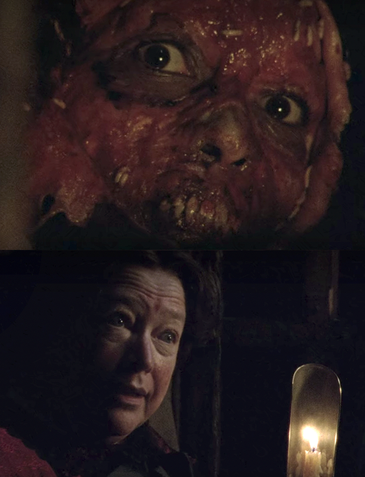 Madame LaLaurie walking through her attic of tortured slaves, one with its face all bloody and pulpy
