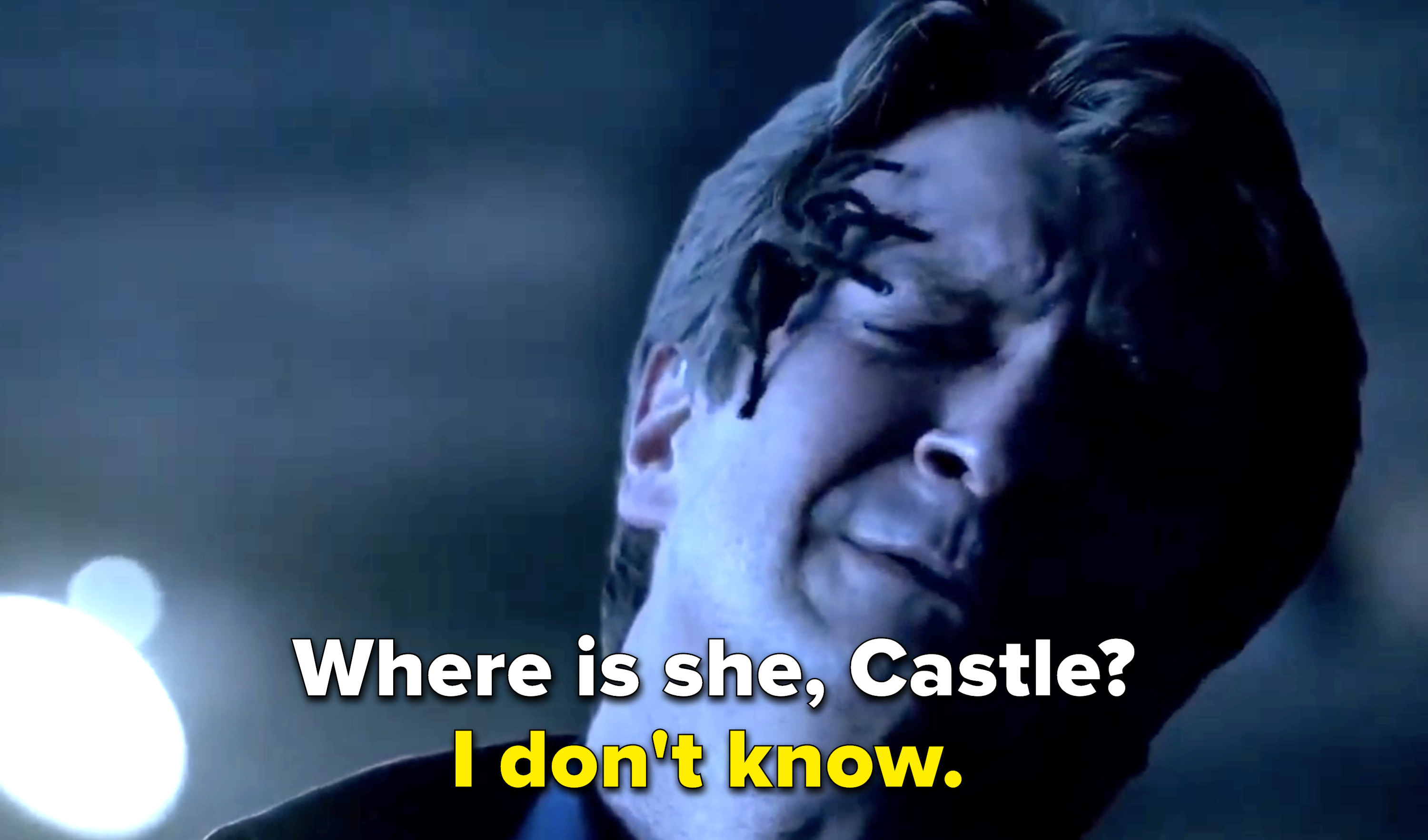 the torturer drops a tarantula on Castle's face and asks him where Beckett is but he says he doesn't know.