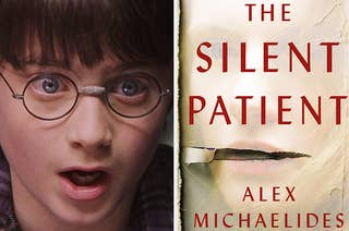 Harry Potter looking shocked side-by-side with the cover of Alex Michaelides'