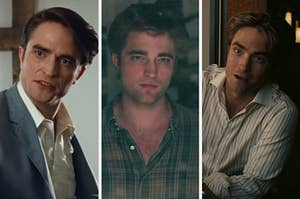 """On the left, Robert Pattinson as Preston in """"The Devil All the Time,"""" in the middle, Robert Pattinson as Tyler in """"Remember Me,"""" and on the right, Robert Pattinson as Neil in """"Tenet"""""""