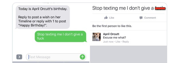 a person recieves an automated birthday message and replies rudely to it and it posts on another person's wall