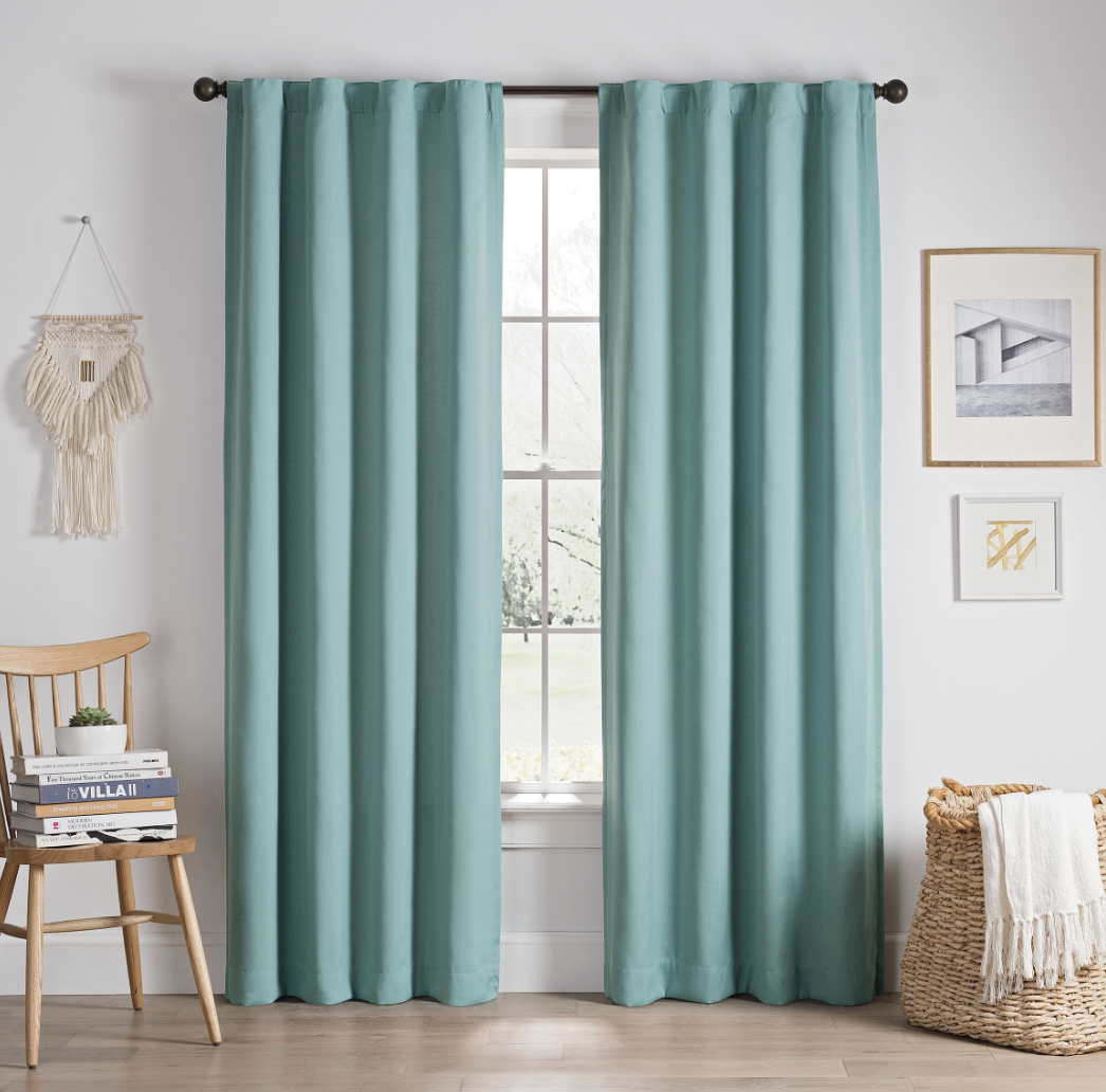 Thermalayer blackout curtains in aqua