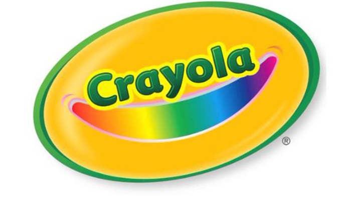The crayola logo with a rainbow smile