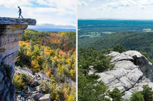 a rocky cliff overlooking a forest during fall; aerial view of a white mountain top