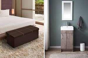 to the left: a brown storage chest at the edge of a bed, to the right: a sink vanity