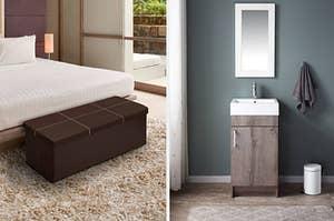 到左边:床边的棕色储存胸部,右边是右边的水槽