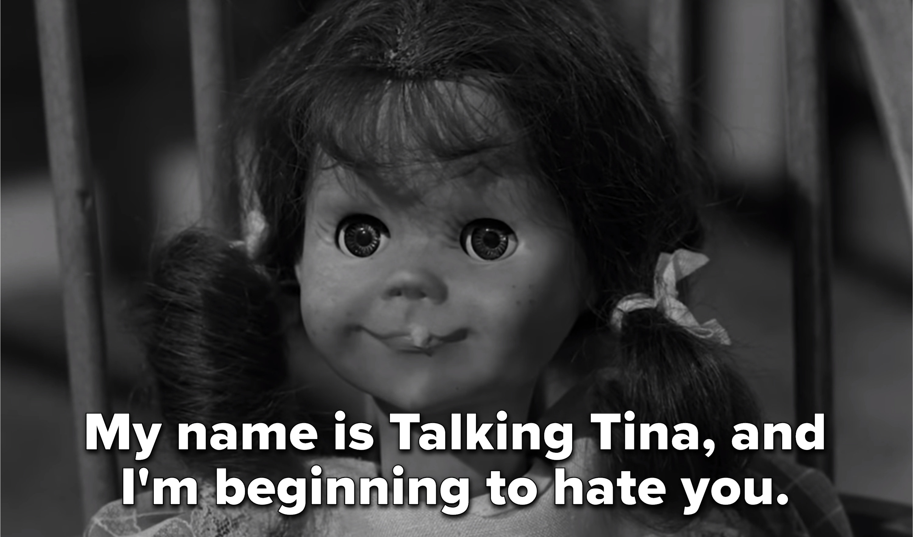 """a doll of a little girl saying """"My name is Talking Tina, and I'm beginning to hate you"""""""