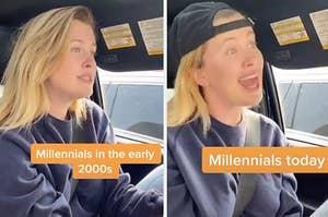 Ireland Baldwin driving in her car.