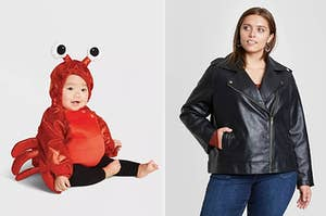 A baby wearing a lobster costume and a model wearing a moto jacket