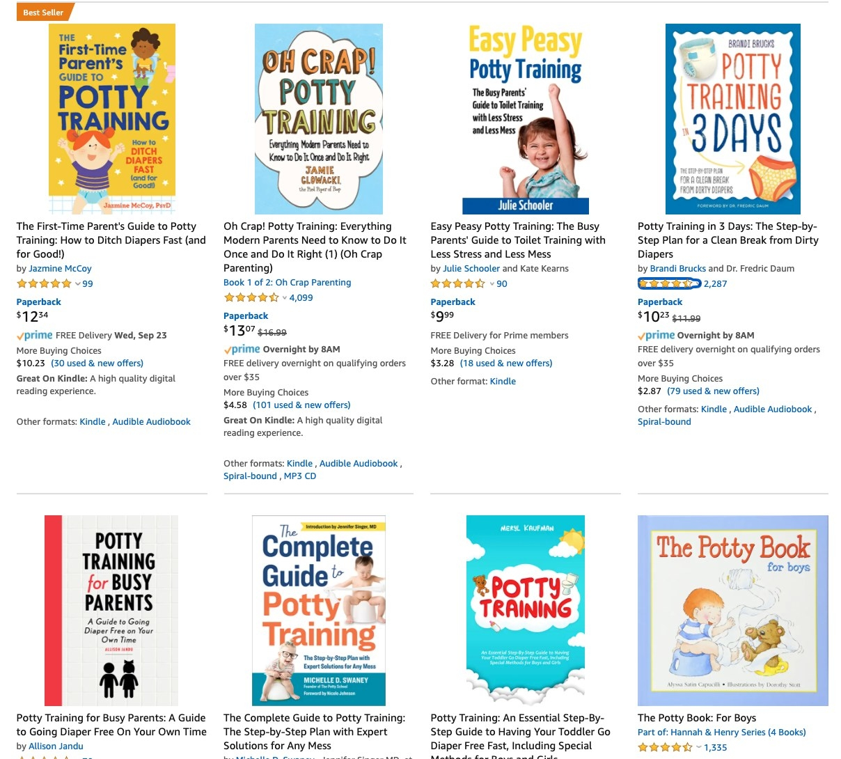 A screenshot of Amazon's potty training book selection.