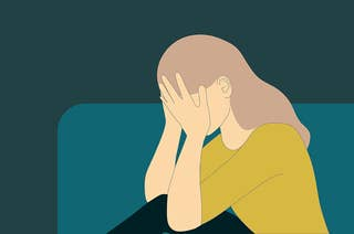 An illustration of a woman who is upset