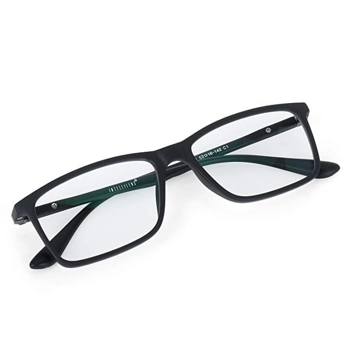 Rectangular glasses with a black plastic rim.