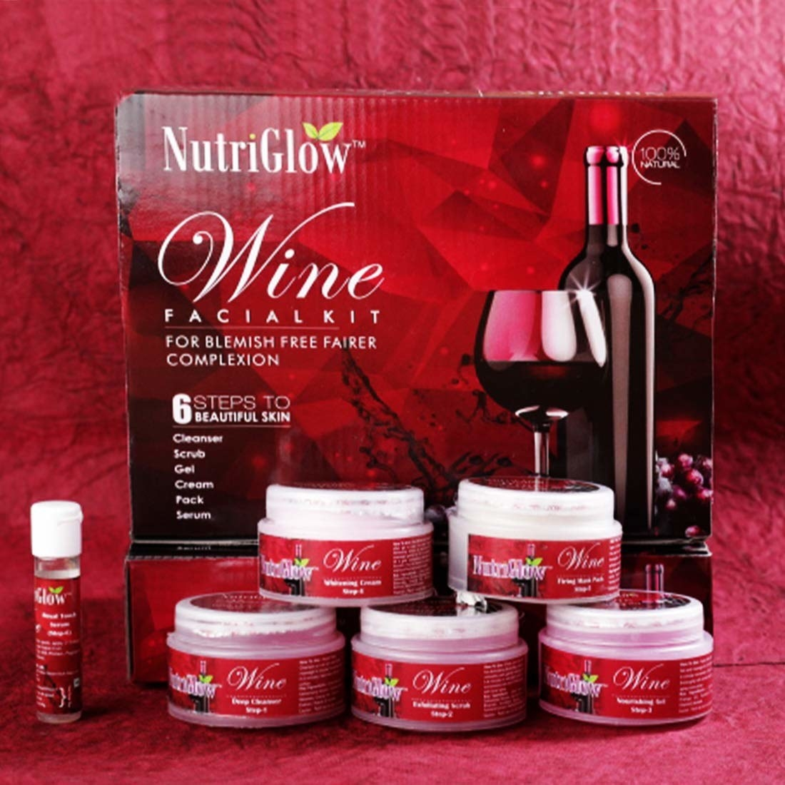 The full wine kit, showing the outbox and the 6 items inside.