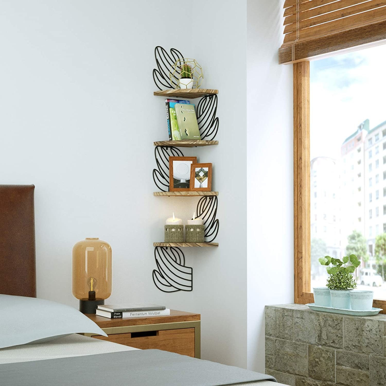 The cactus shelf in the corner of a bedroom