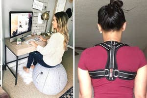 left, sitting ball, right, back brace