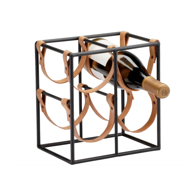 A square metal frame with leather straps in it that hold up to four bottles of wine.