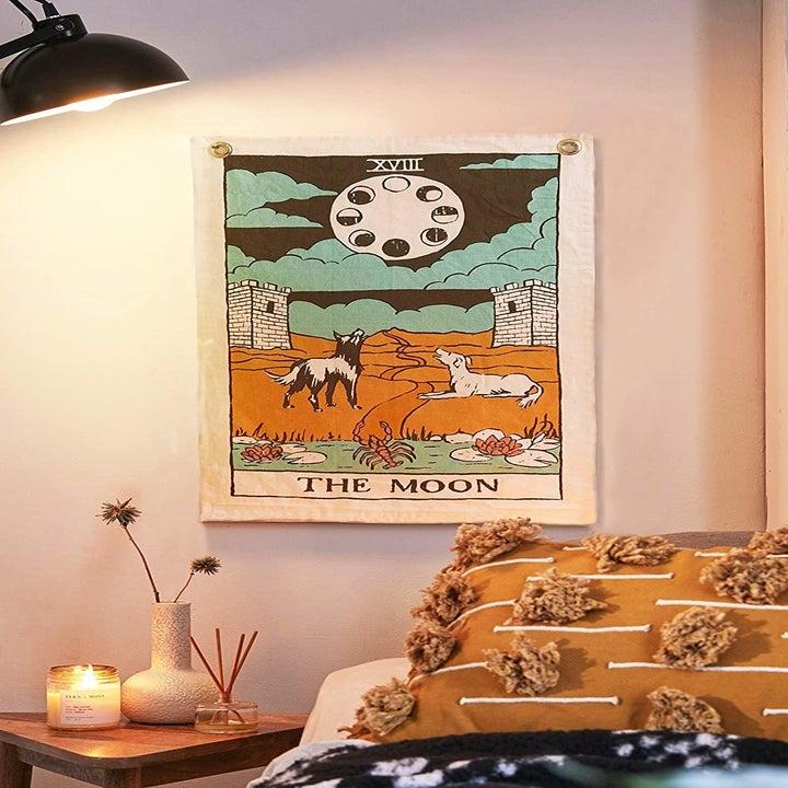 Small moon tarot card tapestry