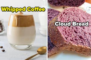 A cup of milk topped off with light, whipped coffee is on the left and next to it is purple bread