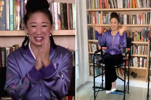 Sandra Oh wearing a purple jacket at the 2020 Emmy Awards
