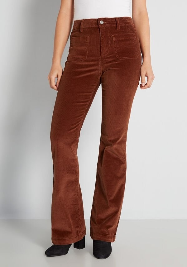 A model wearing the brown pants