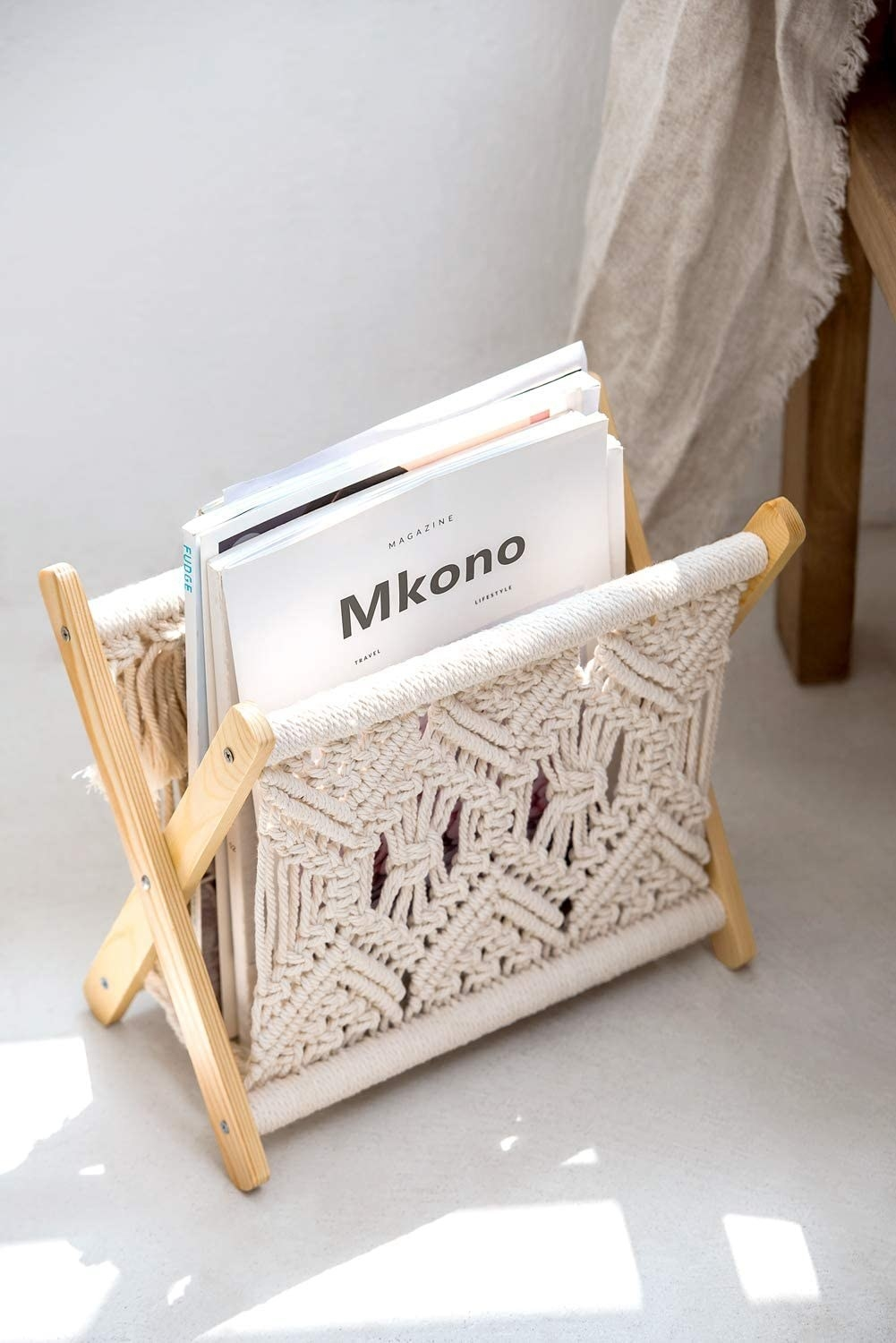 Macrame holder with natural wood legs