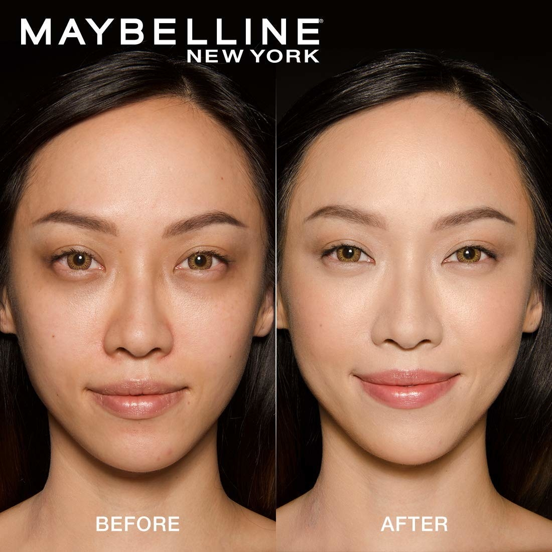 A before-and-after image showing the effects of the concealer.
