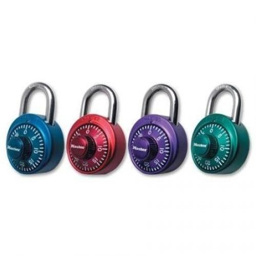 Combination locks in blue, red, purple, and green