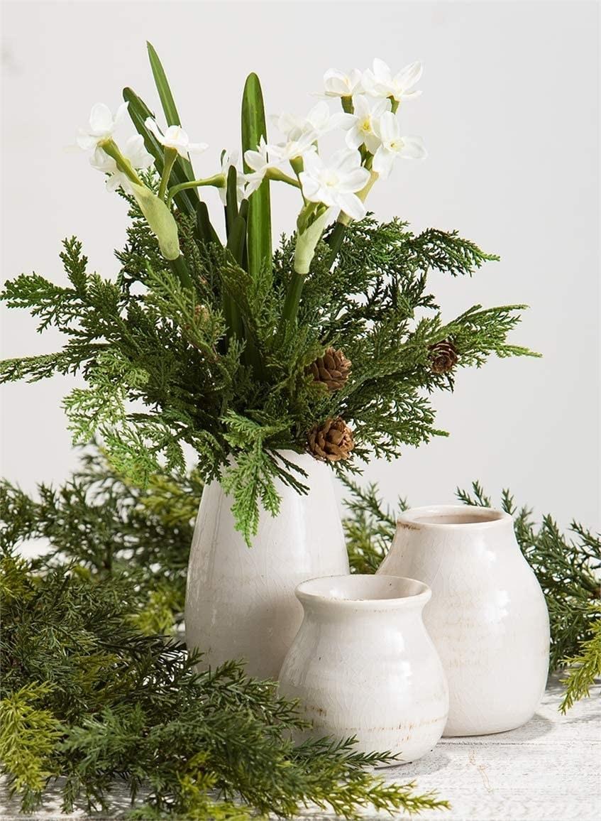 Three ceramic vases in distressed glaze