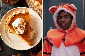 A piece of pumpkin pie on a plate with whipped cream on top, next to an image of a man in a tiger costume