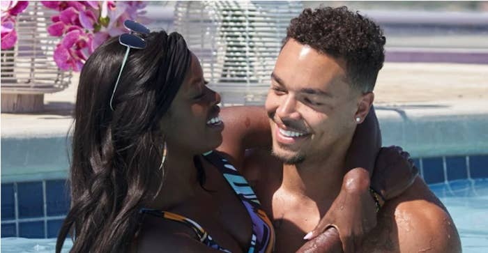 """""""Love Island"""" stars Justine and Caleb staring at each other lovingly in the pool"""