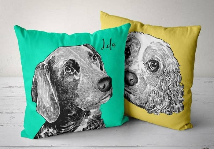 The personalized pet pillows in green and yellow
