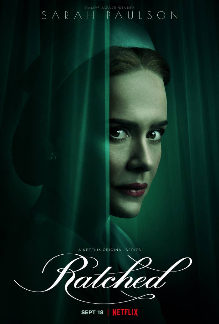 """Actress Sarah Paulson posing in the poster for the show """"Ratched"""""""