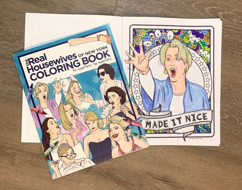 The RHONY coloring book opened to one of the pages of Dorinda