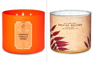 A vanilla pumpkin creme candle on the left, and a sweater weather candle on the right