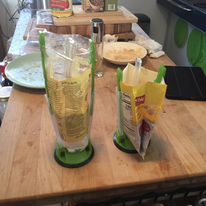 Different reviewer using the holders to prop up flour bags to make scooping easier for baking