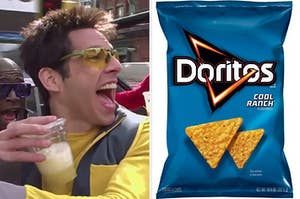 Derek Zoolander driving a car while drinking an iced coffee on the left, and a bag of cool ranch doritos on the right