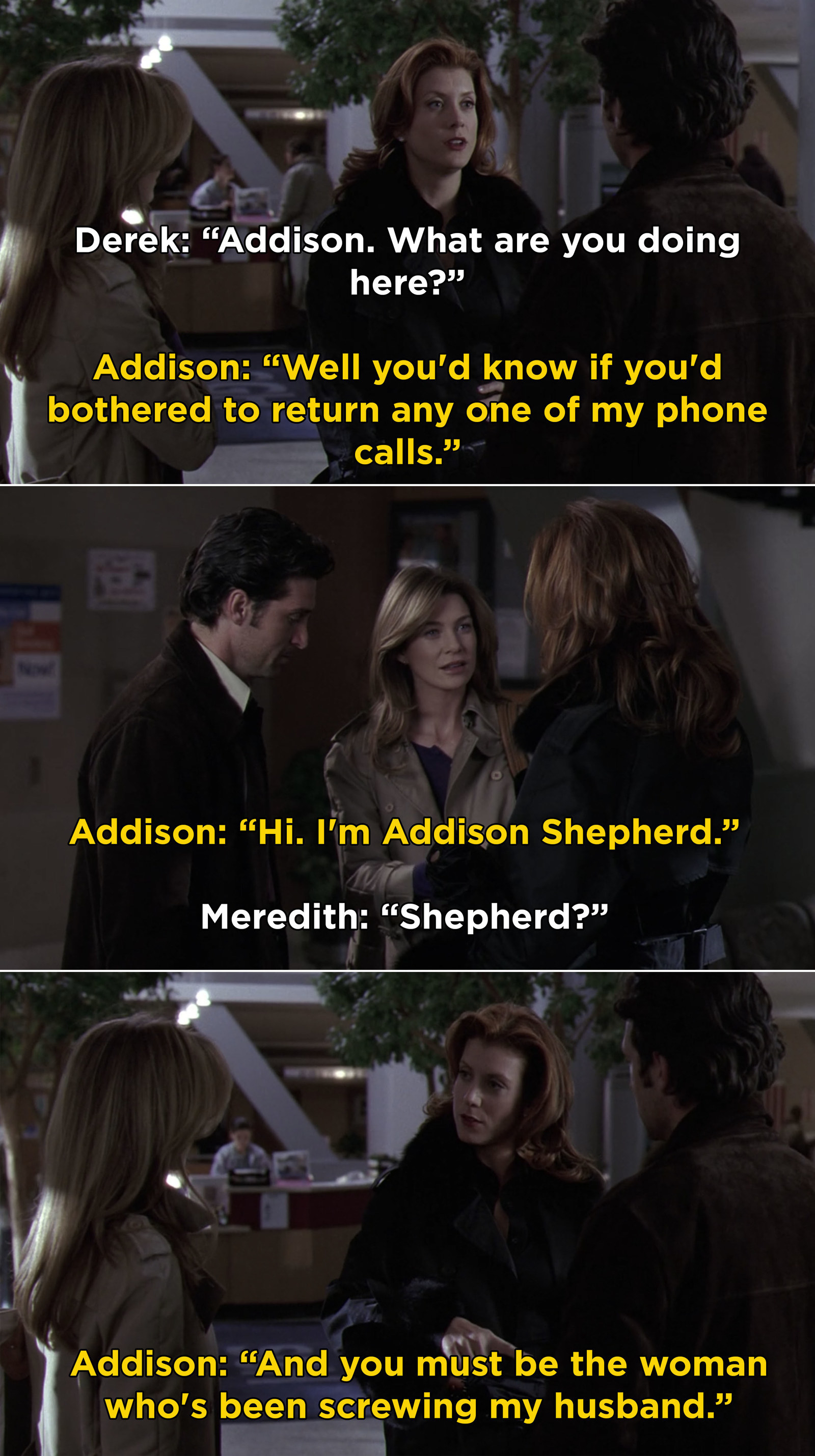 "Addison arriving and telling Meredith, ""And you must be the woman who's been screwing my husband"""