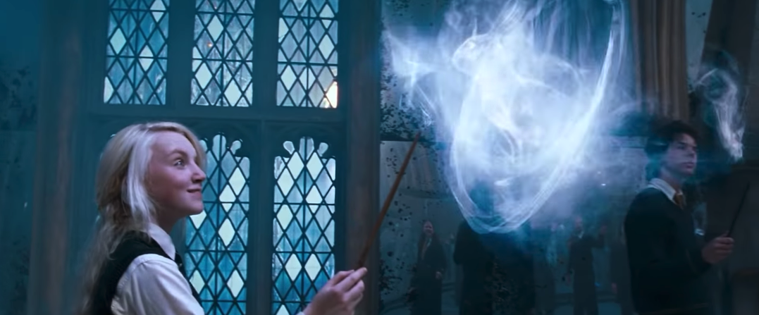 "Luna Lovegood performing the ""Expecto Patronum!"" charm"