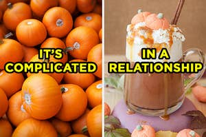 """On the left, a pile of pumpkins labeled """"it's complicated,"""" and on the right, a pumpkin spice latte labeled """"in a relationship"""""""