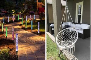 to the left: glowing multi-colored lights,  to the right: a hanging chair