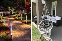 左:发光的彩色灯,右:吊椅
