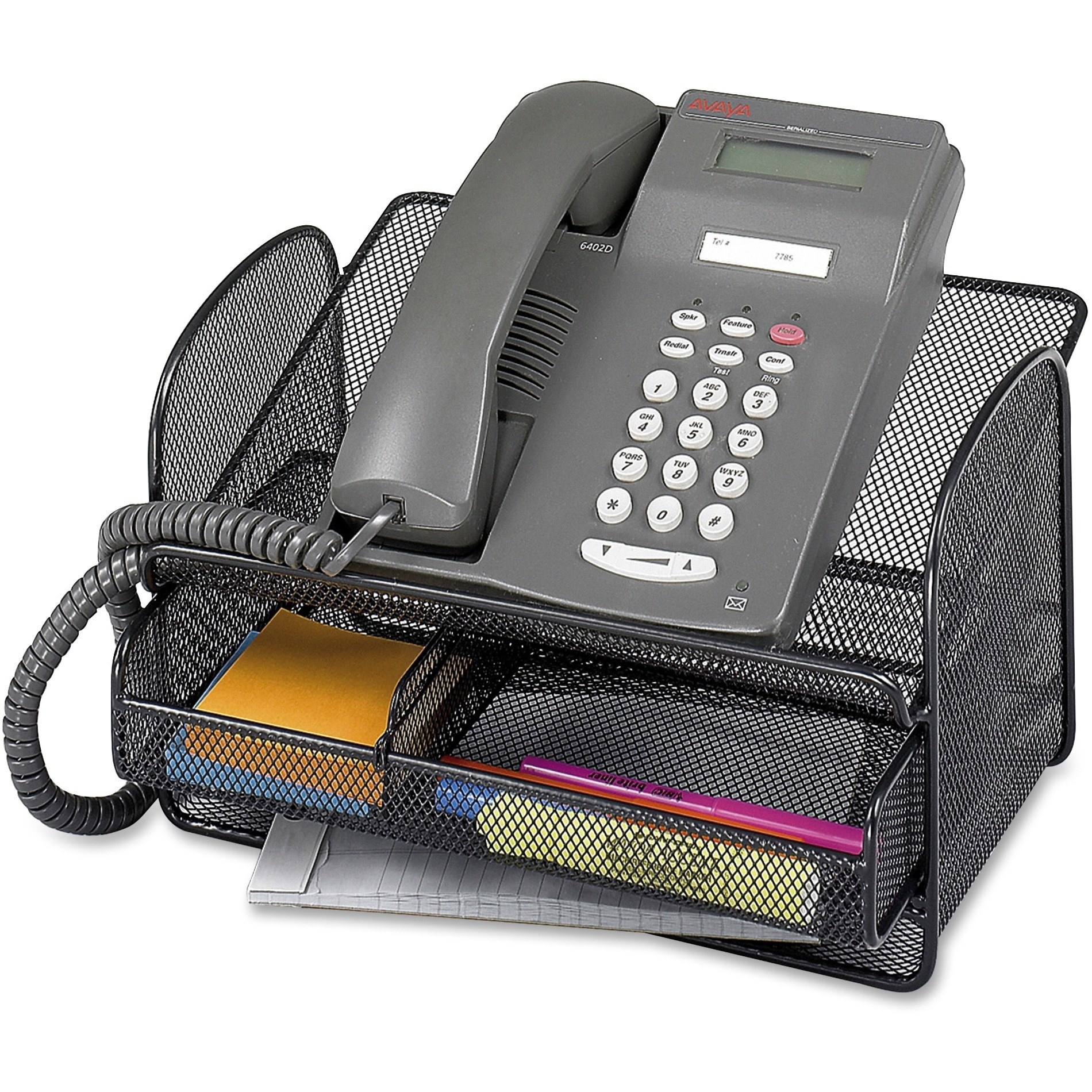The black mesh telephone stand