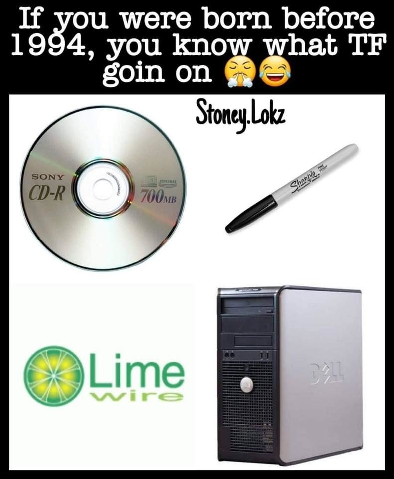 a CD, a sharpie, limewire logo, and a dell desktop computer