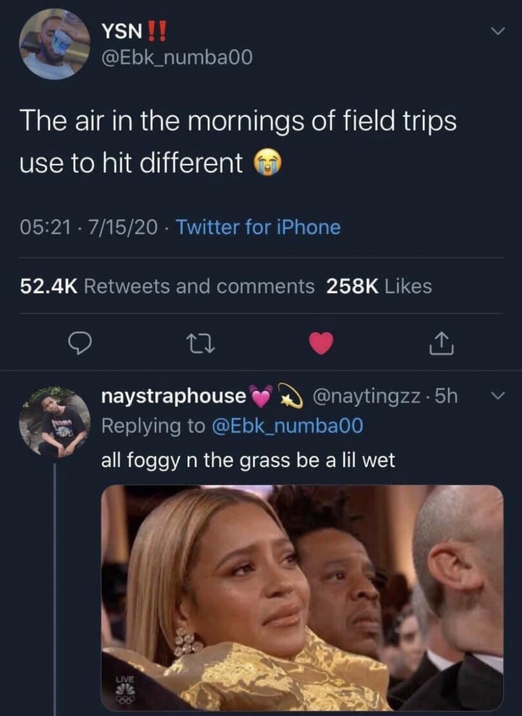 tweet reading the air on the morning of field trips hit different
